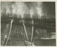 AERIAL VIEW OF MUSCOGEE WHARF FIRE, 1955