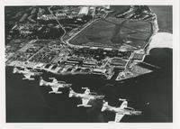 AERIAL VIEW OF PENSACOLA AND FOUR T2V PLANES IN FORMATION, AUGUST 8, 1959