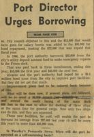 """PORT DIRECTOR URGES BORROWING,"" SEPTEMBER 12, 1966"