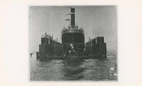"""""""AUGUSTUS BELMONT LONDON"""" IN A DRY DOCK, FRONT"""