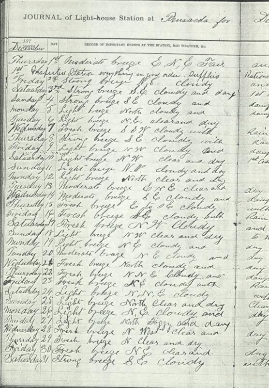 Pensacola Lighthouse Journal 1887