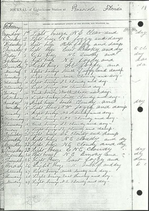 Pensacola Lighthouse Journal 1892